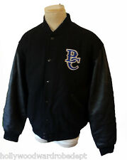 Letterman jacket patch BC college varsity black leather sleeve XL quilted wool