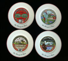 """French Cheese Plates Set - Vintage Advertising Images in Red -Set of 4 8"""" Plates"""
