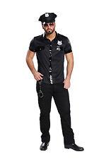 Sexy POLIZEIHEMD Kostüm schwarz Kurzarm Lackleder Optik Gr. M 48