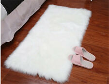 Washable White Sheepskin Rug Soft Faux Fur Sofa Seat Pad Cushion Bed floor HOT