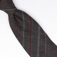 John G Hardy Mens Wool Necktie Gray Burgundy Stripe Weave Woven Soft Tie Italy
