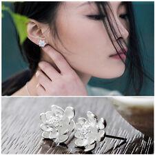 Newest Women Silver Plated Lotus Flower Ear Studs Earrings Jewelry Popular 2015