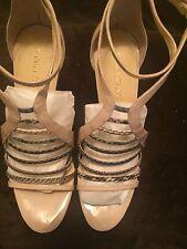 Ivanka Trump Sz 10M Beige Patent & Reptile Print Stripy Stilettos Heels!!