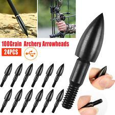 New listing 24PCS Archery Arrowheads 100 Grain Target Tips Field Screw Point Arrow Practice