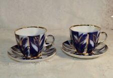 Two Imperial Russian Lomonosov Winter Evening Teacups and Saucers