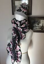 Handmade Fleece Lined Stocking Cap Hat And Ruffled Scarf Set Pink Black Gray