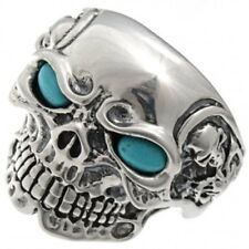 Ring Real Turquoise Eyes Any Size Navajo Made Sterling Silver Skull Biker Mens