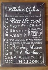 NEW BLACK WHITE KITCHEN RULES WOOD TEXT SCRIPT WALL ART PICTURE PLAQUE WOODEN