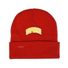 5c1bd09e82b NWT Supreme Men s Red Crown Arc Logo Embroidered Beanie Knit Hat FW18  AUTHENTIC