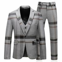 Men's Suit Striped Plaid Slim Fit 3-Pieces Terno Casual Cotton Business Clothing