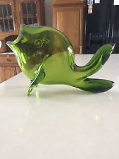 "Vintage Green Glass Fish 14""x9"""