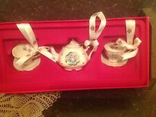 Royal Albert Miniature Tea Set Blue Polka Dot Pink Roses 3 Hanging Ornaments NIB