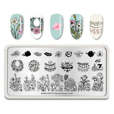 BORN PRETTY Rectangle Stamping Plates Rose Lily Nail Template Spring Garden L007