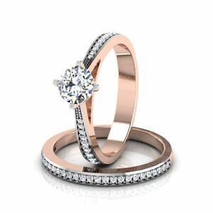 Real 14KT Rose Gold Round 0.80 Carat Solitaire Engagement Ring with Band 5 6 7