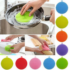Multi-function Antibacterial Silicone Dish Scrubber Brush Dishwash Sponge Blue