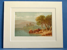 URQUHART CASTLE LOCH NESS SUPERB QUALITY 1879 ANTIQUE DOUBLE MOUNTED PRINT WARD