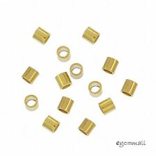100x 18kt Gold Plated Sterling Silver Tube Crimp Spacer Beads 1.5x1.5mm #99271