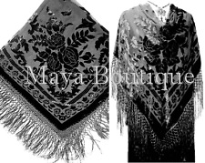 Maya Matazaro Black Wrap Scarf Piano Shawl Silk Burnout Velvet Square Fringed