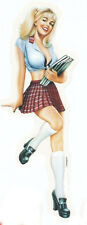Rare &SEXY VINTAGE BLONDE SCHOOL GIRL PIN-UP R/C STICKER/ Car DECAL By CARTAGENA