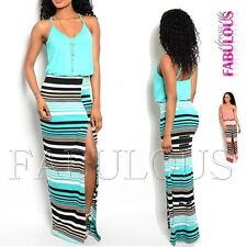 Sexy Long Split Striped Maxi Dresses Party Casual Summer Size 8 10 12 / S M L