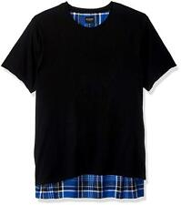 GUESS Men's Blue Black White Plaid Short-sleeve Graphic Crew Neck T Shirt M
