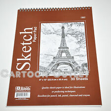 """QUALITY SKETCH PAD BOOK 12"""" X 9"""" 30 SHEETS BAZIC FOR PENCIL INK PASTEL CHARCOAL"""