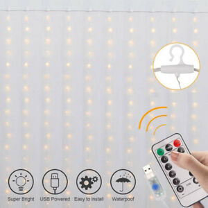 100/200/300LED Lights Twinkle Curtain Control Indoor Window Light Hanging String