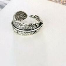 925 Sterling Silver Feather Wrap Around  Adjustable Vintage Ring Thumb Finger