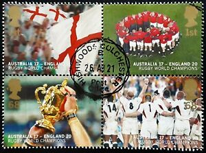 GB 2003 England's Victory in Rugby World Cup Used Block from Miniature Sheet
