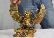 Tibet Buddhism Copper Bronze Gild Redpoll Winged Garuda Bird Eagle Buddha Statue