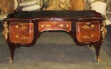 Large Gorgeous French Louis XV Bombe Leather Bureau Plat Desk