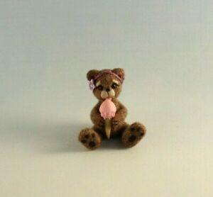 OOAK~Bear~Ice cream cone~Art~Clay~Artist Doll~Baby Toy~Dollhouse~Cheryl Brown