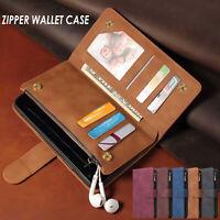 Zipper PU Leder Kartenschlitz Geldbörse Portemonnaie Case Magnetisch Flip Hülle