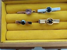 Vintage Gold & Silver Plated Men's Tie Clips with Stones (lot of 4) 1960-1980