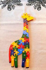 Holz Puzzle Kinder Zahlen Buchstaben lernen Giraffe