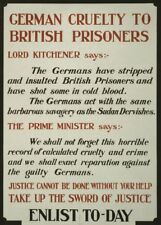 GERMAN CRUELTY TO BRITISH PRISONERS British WW1 Propaganda Poster