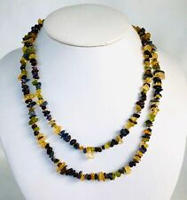 """Necklace Garnet Amethyst Citrine and Peridot Two Strands Sterling 16"""" L"""