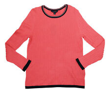 Tommy Hilfiger Womens Cable Knit Lightweight Crew Neck Sweater X-Large NWT Pink