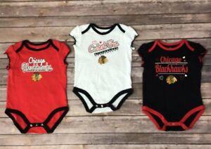 Chicago Blackhawks Baby Girls 3 Piece Creeper White Black Red 0/3M, 12M, 18M