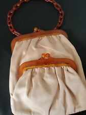Koret Peach Vintage Celluloid chain handle  Purse Satin Lining  made in France