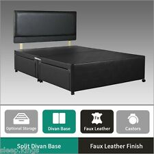 Black Faux Leather Divan Base - Divan Bed Base with Underbed Drawers Storage