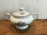 Crown Bavaria Germany China Silver Trim Bouquet Lidded Sugar Bowl w/ Handles