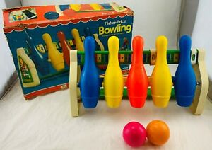 1973 Fisher Price Bowling Set In Original Box in Good Condition FREE SHIPPING
