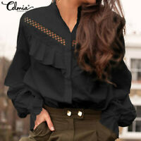 Women Plus Size Loose Ruffle Top Victorian Shirt Office Party Long Sleeve Blouse