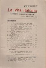 LA VITA ITALIANA RASSEGNA ANNO VI N. LXII 15 FEBBRAIO 1918 GIOVANNI PREZIOSI