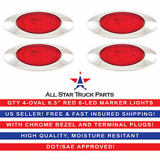 "6.5"" Oval Side Marker Light 6 LED Red Chrome Bezel Freightliner Trailer-QTY 4"