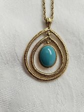 Neckace Designer Monet Gold Tone Metal With Teal Colored Drop Tear Drop Shape
