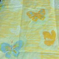 Vintage Yellow Pillowcases - Blue & Orange Butterflies Pequot