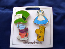 * ALICE in WONDERLAND * 2017 Disney Parks 4 Pin Themed Set on Card Trading Pins