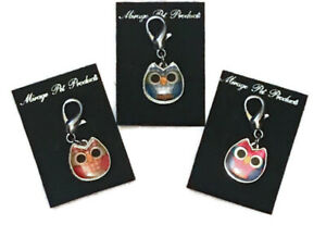 One Dog Charm OWL for Collar Lobster Claw Clasp - Choose Red Purple or Blue
